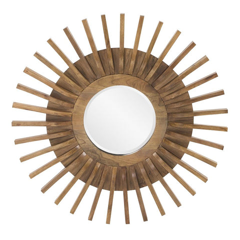 Carver Wooden Round Mirror Transitional Wall Mirrors Howard Elliott