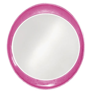 Hyannis Round Mirror Contemporary Mirrors Howard Elliott Glossy Hot Pink