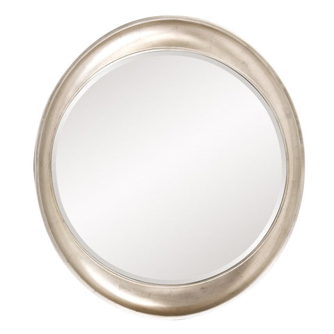 Hyannis Round Mirror Contemporary Mirrors Howard Elliott Burnished Silver Leaf