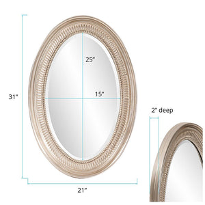 Beckham Bright Nickel Oval Mirror Bathroom Mirrors Howard Elliott