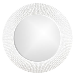 Bergman Textured Round Mirrors White Mirrors Howard Elliott Glossy White Textured