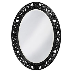 Mathieu Oval Mirror Oval Mirrors Howard Elliott Glossy Black