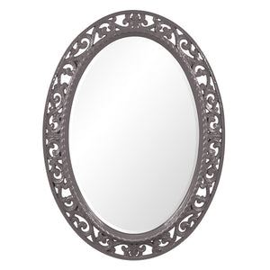Mathieu Oval Mirror Oval Mirrors Howard Elliott Glossy Charcoal Gray