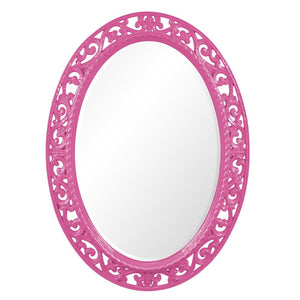 Mathieu Oval Mirror Oval Mirrors Howard Elliott Glossy Hot Pink