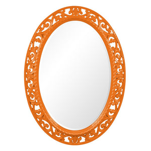 Mathieu Oval Mirror Oval Mirrors Howard Elliott Glossy Orange
