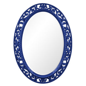Mathieu Oval Mirror Oval Mirrors Howard Elliott Glossy Royal Blue