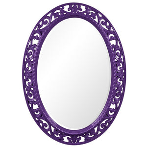 Mathieu Oval Mirror Oval Mirrors Howard Elliott Glossy Royal Purple