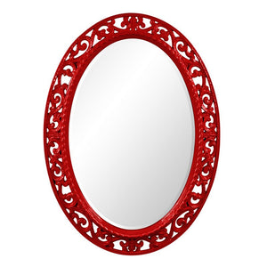 Mathieu Oval Mirror Oval Mirrors Howard Elliott Glossy Red