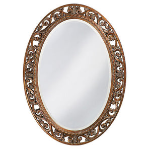Mathieu Oval Mirror Oval Mirrors Howard Elliott Antique Bronze Leaf