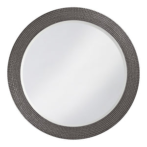 Petrini Round Mirror Contemporary Mirrors Howard Elliott Glossy Charcoal Gray