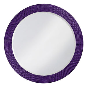 Petrini Round Mirror Contemporary Mirrors Howard Elliott Glossy Royal Purple