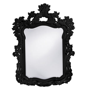 "Berry Ornate Mirror 42""x56"" Ornate Mirrors Howard Elliott Glossy Black"