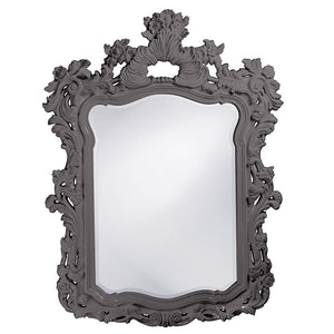 "Berry Ornate Mirror 42""x56"" Ornate Mirrors Howard Elliott Glossy Charcoal Gray"