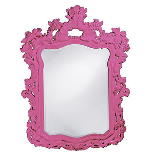 "Berry Ornate Mirror 42""x56"" Ornate Mirrors Howard Elliott Glossy Hot Pink"