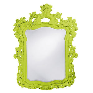 "Berry Ornate Mirror 42""x56"" Ornate Mirrors Howard Elliott Glossy Green"