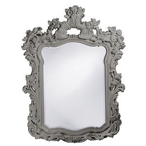 "Berry Ornate Mirror 42""x56"" Ornate Mirrors Howard Elliott Glossy Nickel"