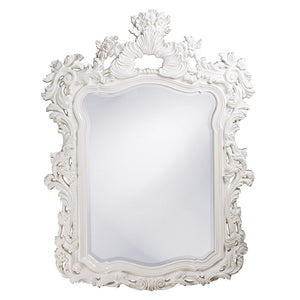 "Berry Ornate Mirror 42""x56"" Ornate Mirrors Howard Elliott Glossy White"