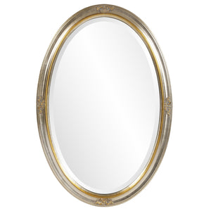 Hadar Silver and Gold Oval Mirror Oval Mirrors Howard Elliott