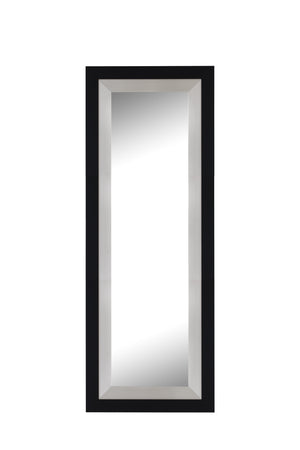 "Black and Brushed Nickel Contemporary Mirror Large Mirrors and Leaner Mirrors Hitchcock Butterfield 34.75"" x 70.75"""