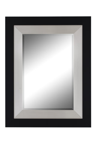 "Black and Brushed Nickel Contemporary Mirror Large Mirrors and Leaner Mirrors Hitchcock Butterfield 31.75"" x 41.75"""