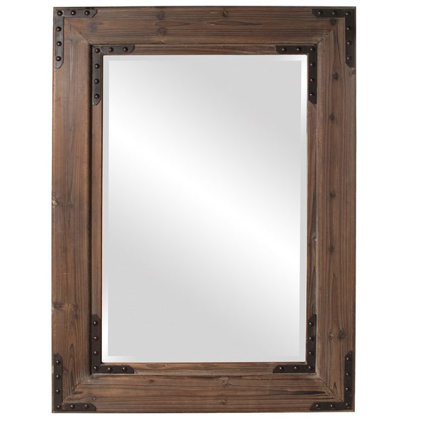 "Caldwell Natural Wood Rustic Mirror Large 34""x47""x2"" - Classy Mirrors"