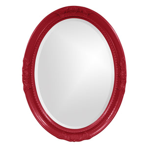 Queen Ann Glossy White Oval Mirror Oval Mirrors Howard Elliott Glossy Red