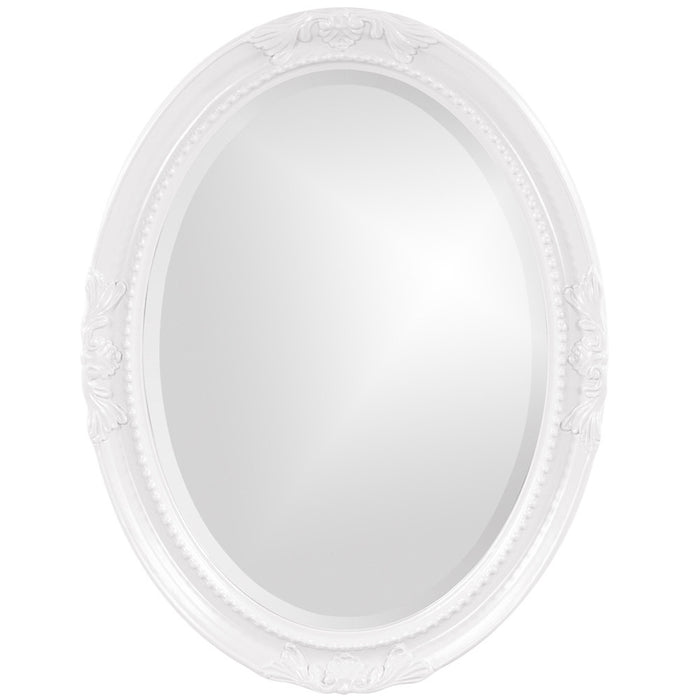 Queen Ann Glossy White Oval Mirror