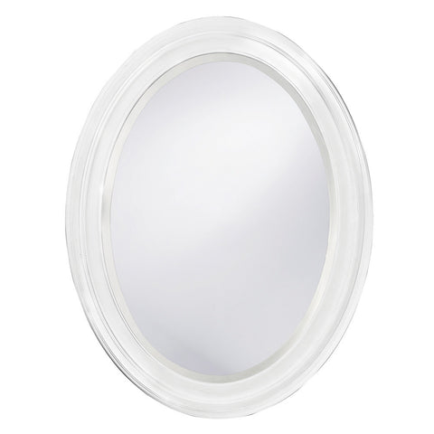 George Oval Mirror Bathroom Mirrors Howard Elliott Matte White Lacquer