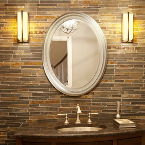 George Bright Silver Leaf Oval Mirror Bathroom Mirrors Howard Elliott