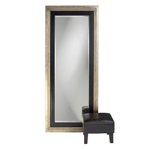 Bergamo Silver and Black Leaner Mirror Large Mirrors and Leaner Mirrors Howard Elliott