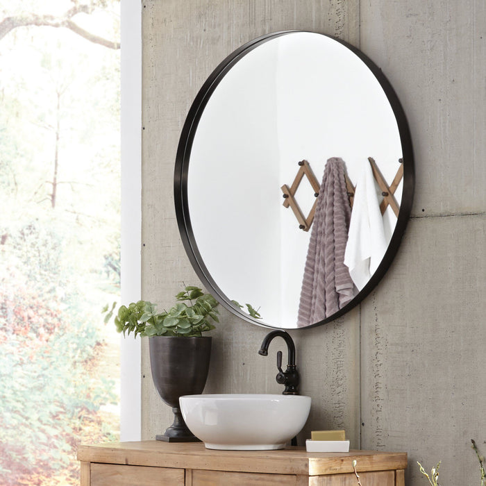 Steele Black Round Mirror