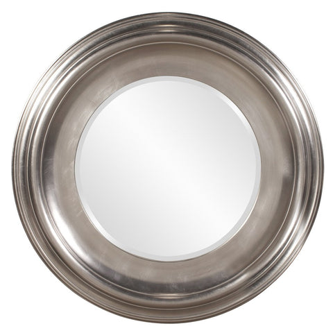 Christian Bright Silver Leaf Round Mirror Round Mirrors Howard Elliott