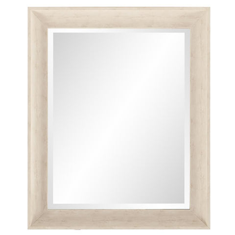 "Parker White Rectangle Mirror 28.5""x34.5""x2"" - Classy Mirrors"