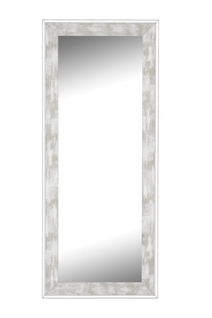"Iconica II Scratched Stone Washed White Mirror White Mirrors Hitchcock Butterfield 21.75"" x 57.75"""