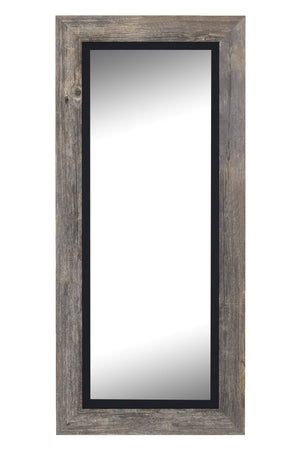 "Barnwood Gray Mirror With Black Liner Rustic Mirrors Hitchcock Butterfield 25.5"" X 61.5"" No Bevel"