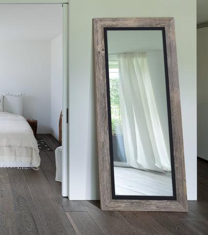 Barnwood Gray Mirror With Black Liner Rustic Mirrors Hitchcock Butterfield