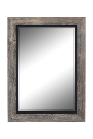 "Barnwood Gray Mirror With Black Liner Rustic Mirrors Hitchcock Butterfield 28.5"" x 38.5"""