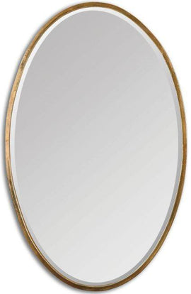 "Herleva Antiqued Plated Gold Oval Mirror 18""x28""x1"" - Classy Mirrors"