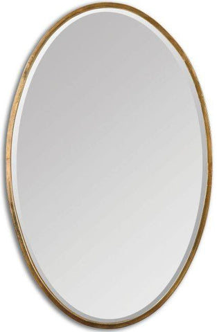 Herleva Antiqued Plated Gold Oval Mirror Bathroom Mirrors Uttermost