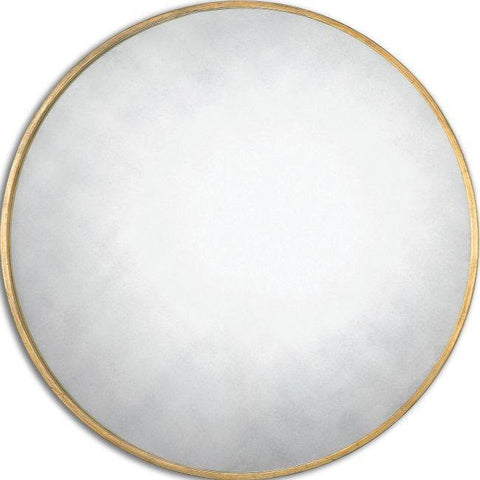 "Newcastle Round Antiqued Gold Mirror 43""x43""x1"" - Classy Mirrors"