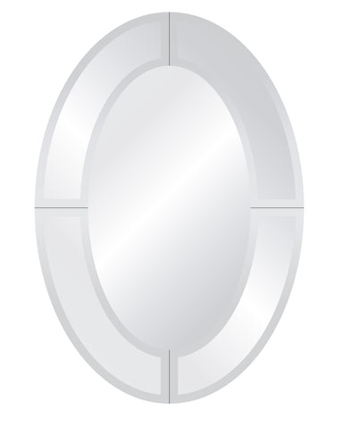 "Royal Oval Overlay Mirror Frameless Mirrors Spancraft Glass 22""x30"""
