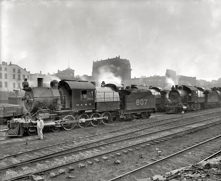 "Scranton, Pennsylvania, circa 1900. ""Group of Lackawanna freight engines. Delaware, Lackawanna & Western R.R."" Detroit Publishing Co."