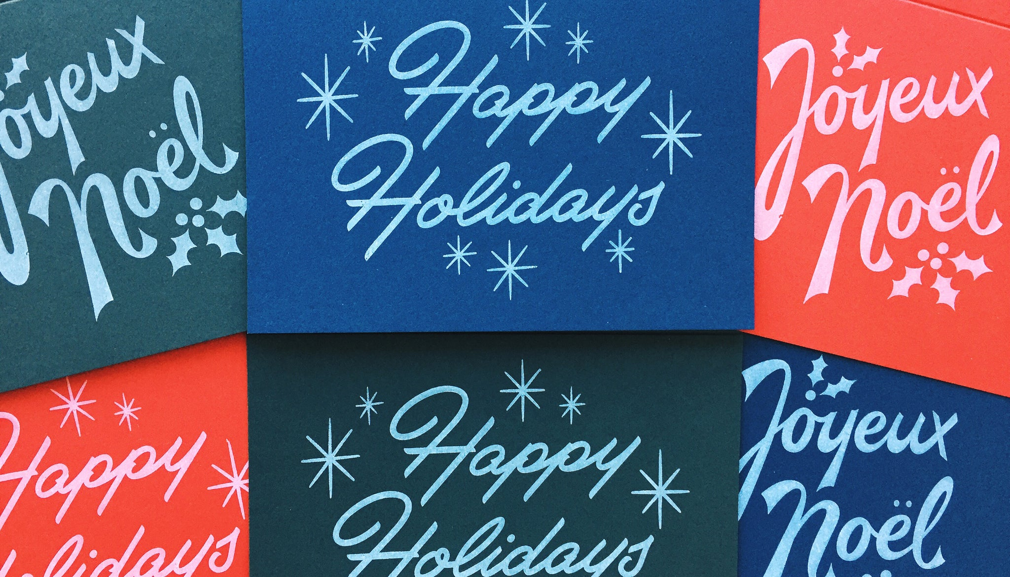 Our holiday cards come on Red, Green and Blue paper from French Paper Co.