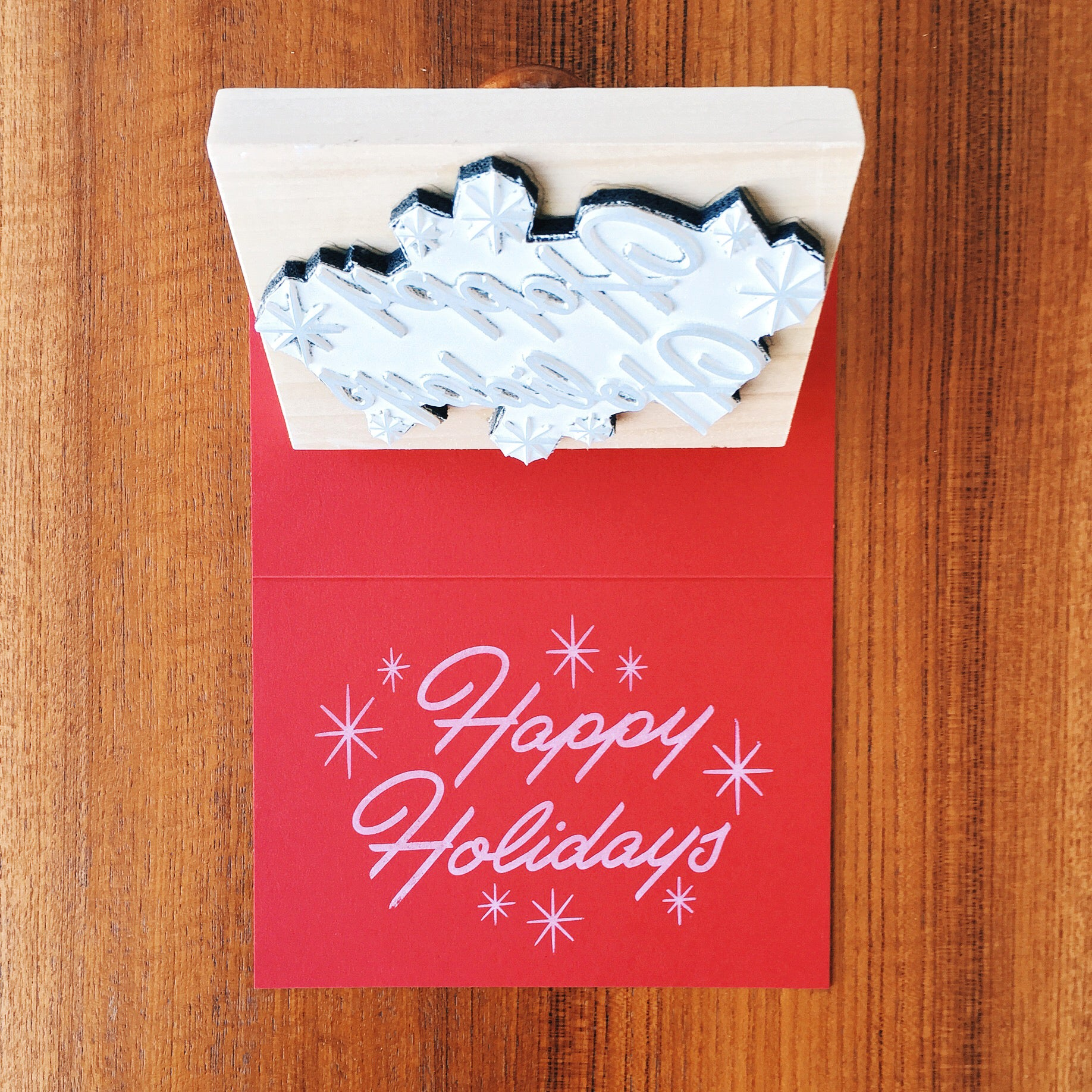 Happy Holidays and Lumi rubber stamp.