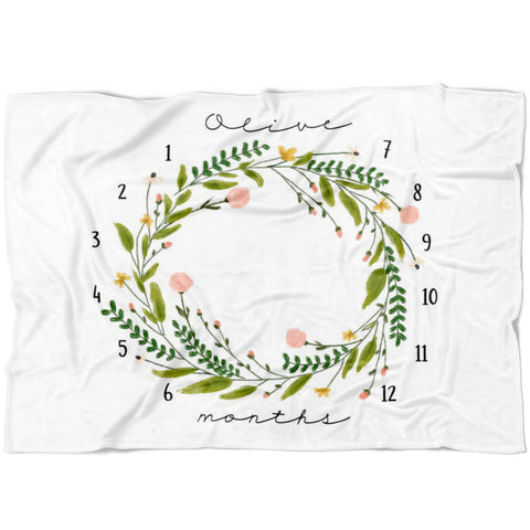 Olive Wreath Milestone Blanket - Limited Edition - FLEECE