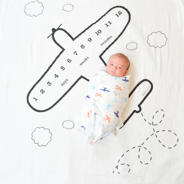 Airplane Baby Milestone Blanket™ - Ready to ship