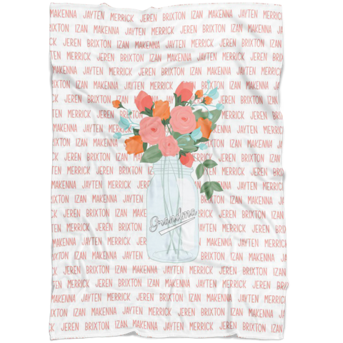 Mother's Day Flower Jar Personalized Name Blanket - Limited Edition - FLEECE