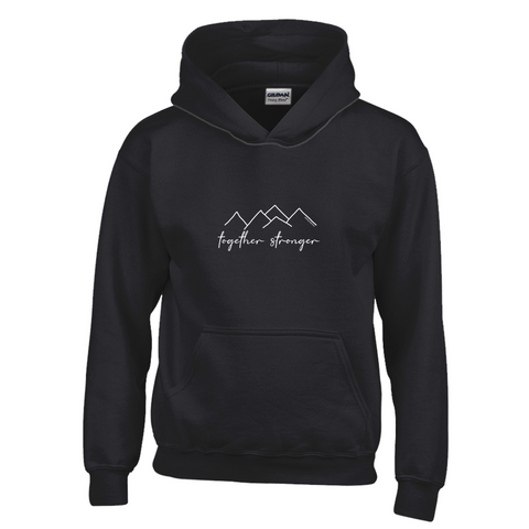 Rett syndrome Fundraiser - YOUTH- Black hoodie white mountains