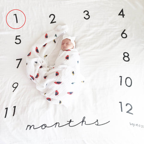 Square Months Milestone Blanket™ - Cotton Muslin Swaddle Blanket