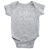 Custom Baby Name HELLO Bodysuit